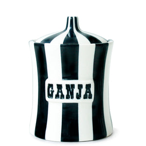 "Vice Canister GANJA- Black and White- 6.75"" x 5"""