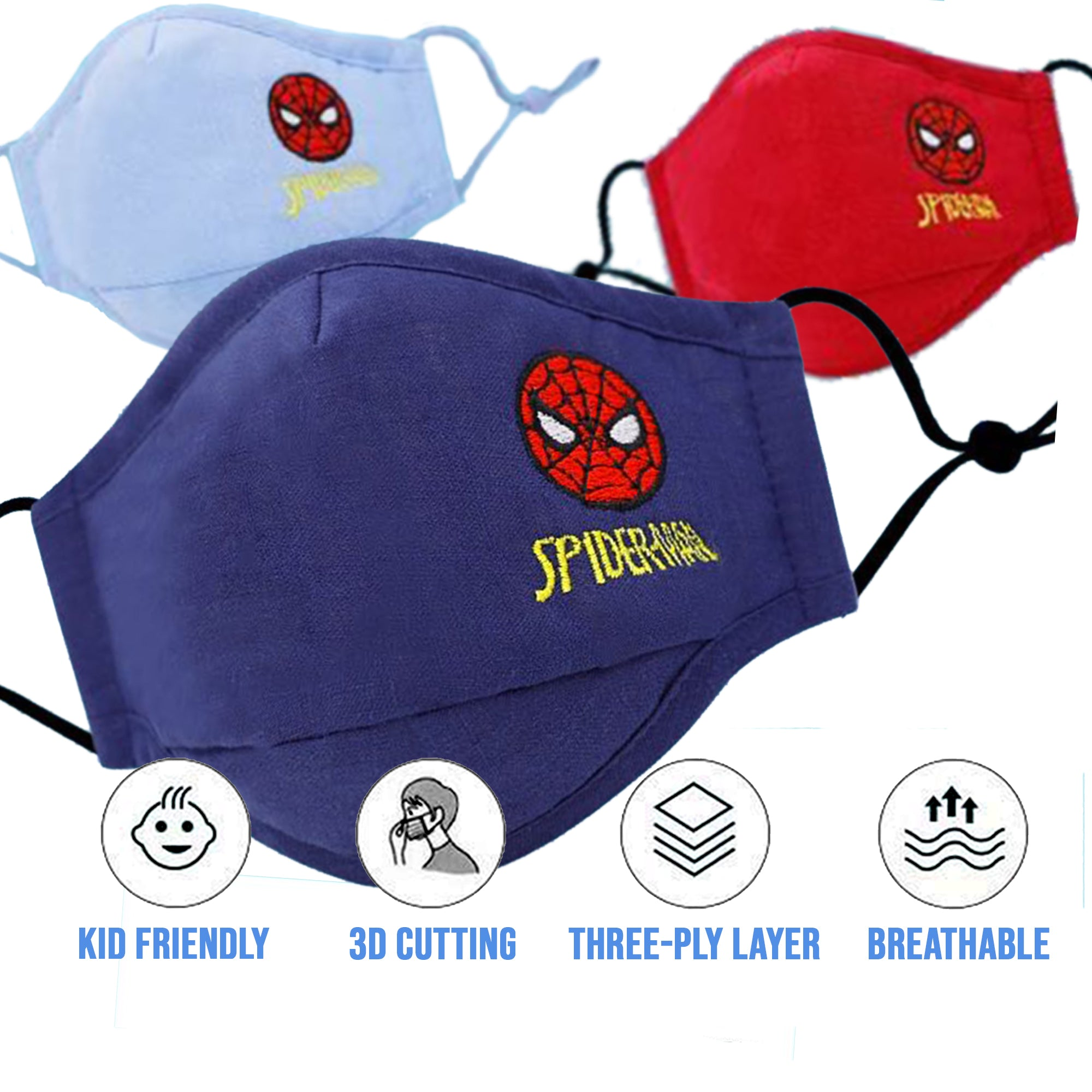 3 Pc Kids Disney mask with filter (Boys)  Spiderman - SOP-TECHNOLOGIES, INC.