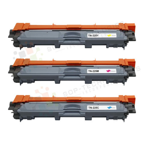 3 Pack Toner Cartridge Set for Brother TN-225 (CMY)