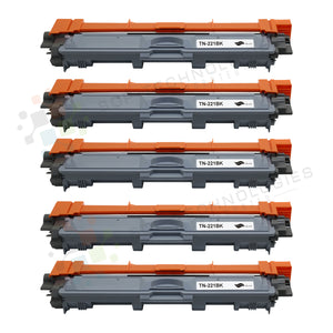 5pk TN 221K Toner Cartridges for Brother BLACK ONLY