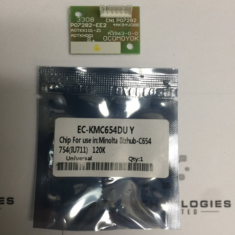 1 Drum Chip Konica Minolta Bizhub C654 C654e C754 C754e DR-711 RESET DRUM CHIP YELLOW