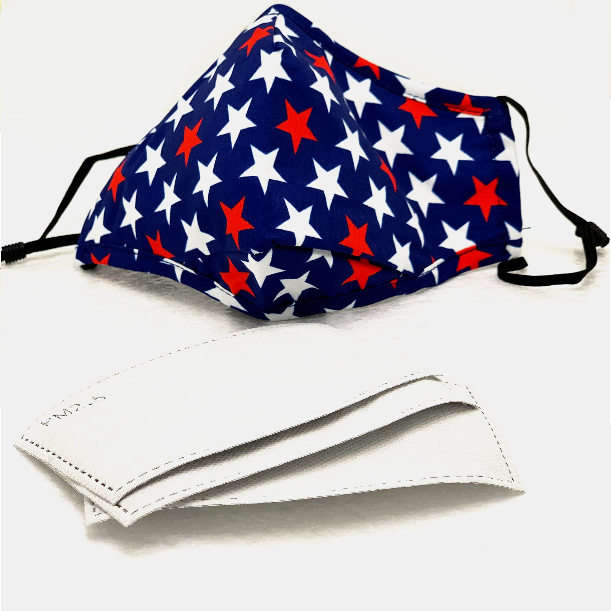 3D Cotton Washable Face Mask with Filter Pocket w/ 3 filters (Star Designs)