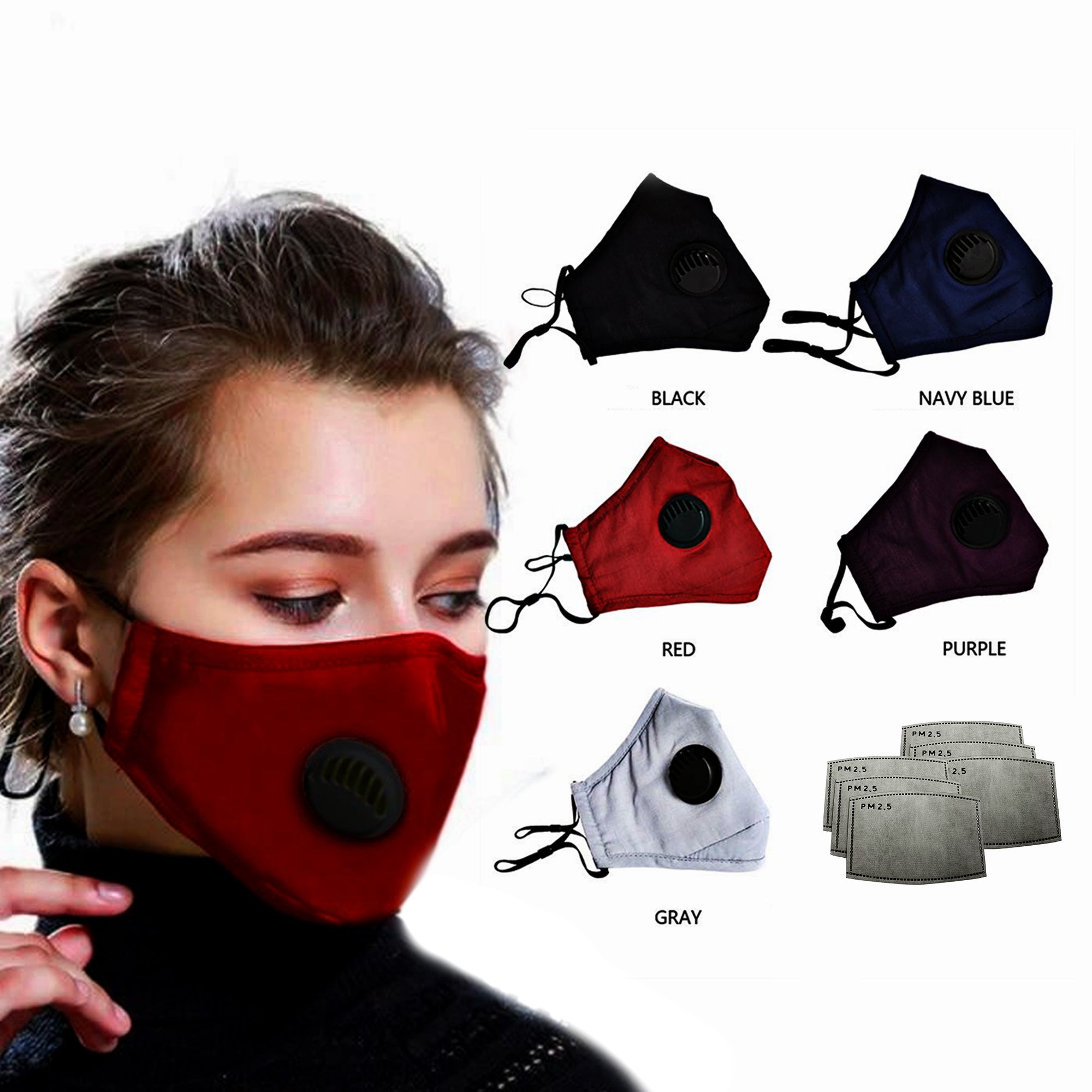3D Cotton  Washable Face Mask with Filter Pocket w/ 3 filters (with valves)