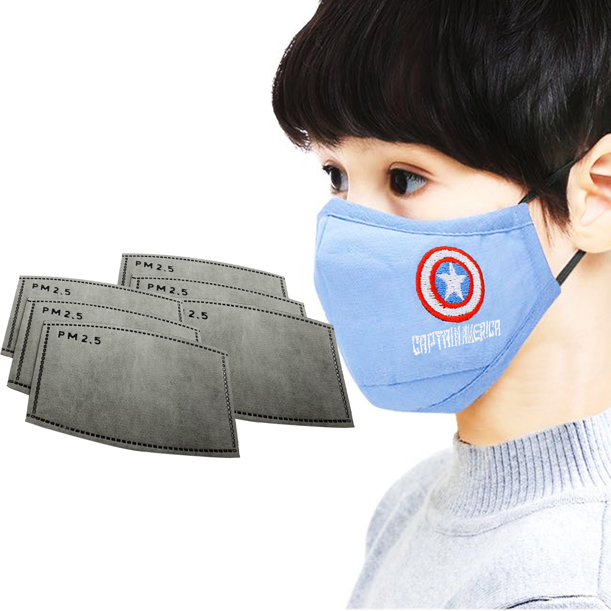 3 Pc Kids Disney mask with filter (Boys)  Captain America - SOP-TECHNOLOGIES, INC.