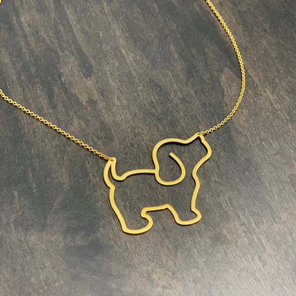 LARGE PUPPIE NECKLACE, GOLD - Puppie Love