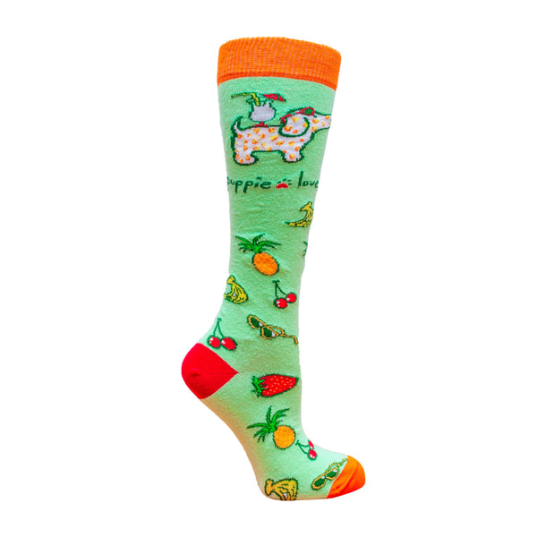 ADULT KNEE HIGH SOCK, TROPICAL PUP - Puppie Love