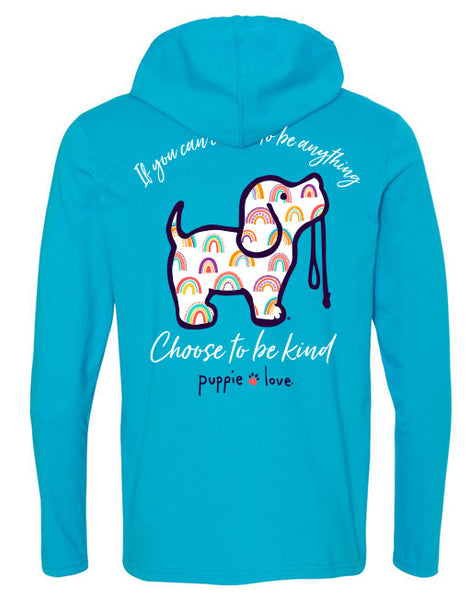 KIND RAINBOW PUP, ADULT HOODIE TEE - Puppie Love