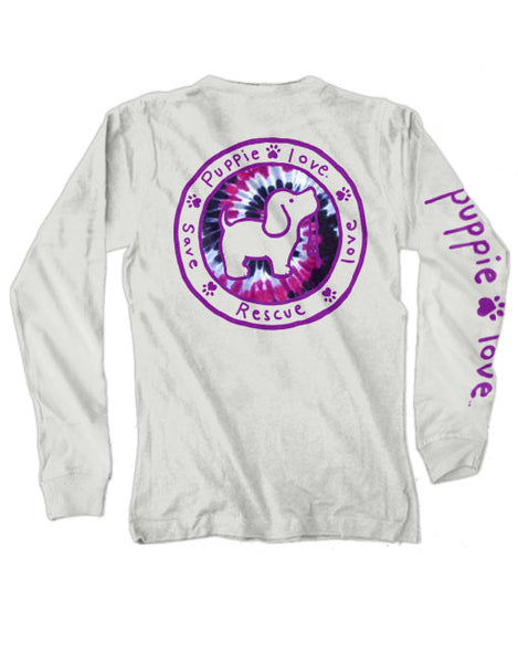 PRAIRIE WINE TIE DYE FILL LOGO PUP, ADULT LS - Puppie Love