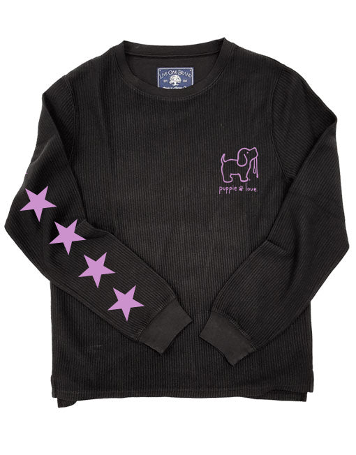 STARRY CORDUROY CREWNECK SWEATER, CHARCOAL - Puppie Love