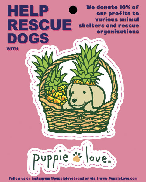 PINEAPPLE BASKET PUP DECAL - Puppie Love