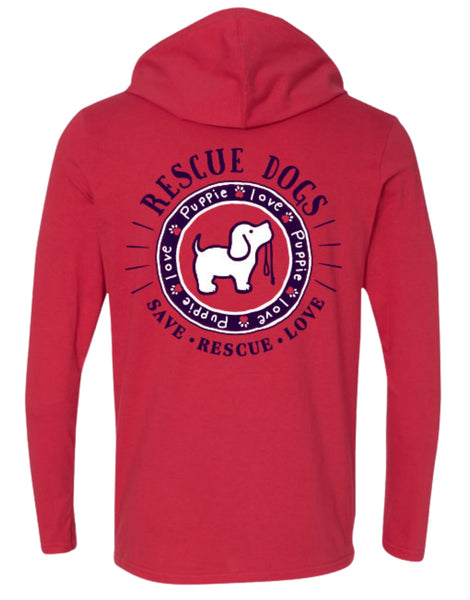 RESCUE DOG LOGO, ADULT HOODIE TEE - Puppie Love