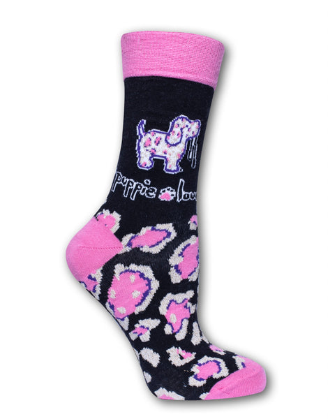ADULT CREW SOCK, PINK/GOLD LEOPARD PUP - Puppie Love