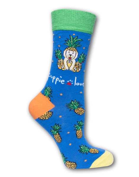 ADULT CREW SOCK, PINEAPPLE DISGUISE PUP