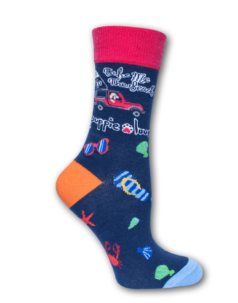 ADULT CREW SOCK, TAKE ME TO THE BEACH - Puppie Love