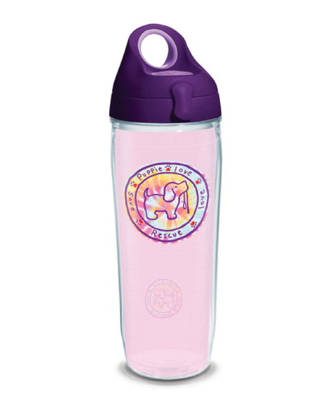 PINK TIE DYE PUP 24oz WATER BOTTLE - Puppie Love