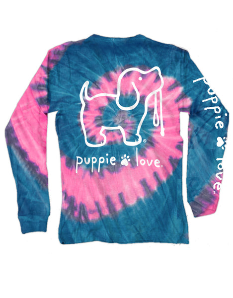 BUBBLE GUM TIE DYE PUP, ADULT LS - Puppie Love