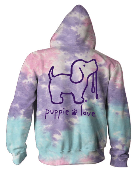 COTTON CANDY TIE DYE PUP, ADULT HOODIE - Puppie Love