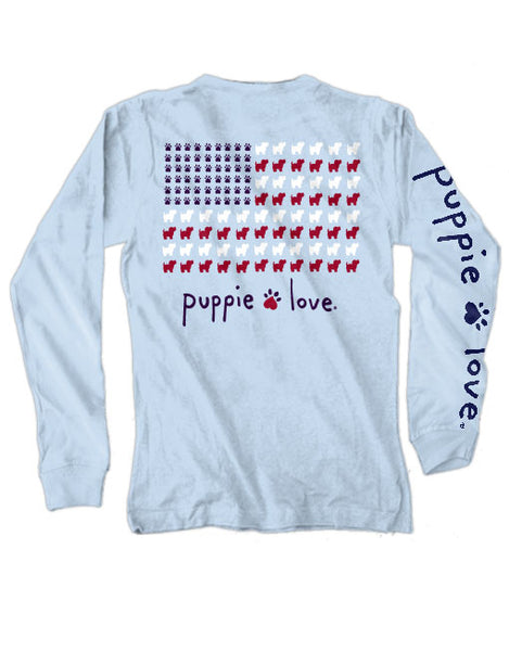 PUPPIE USA FLAG, ADULT LS - Puppie Love