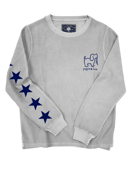 STARRY CORDUROY CREWNECK SWEATER, PEARL GREY - Puppie Love
