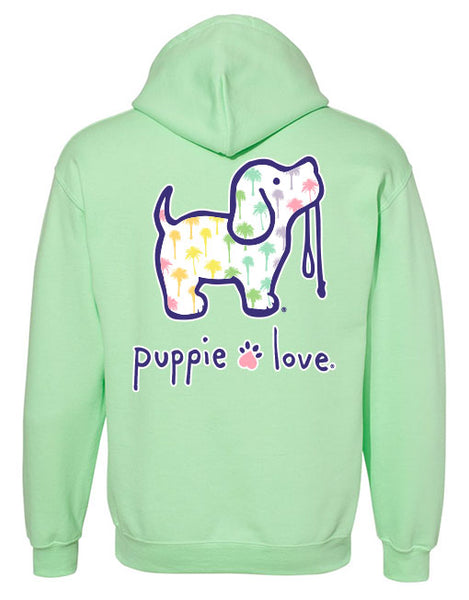 RAINBOW PALM TREES PUP, ADULT HOODIE - Puppie Love