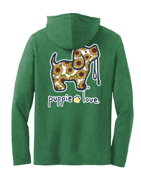 SUNFLOWER FILL PUP, ADULT HOODIE TEE - Puppie Love