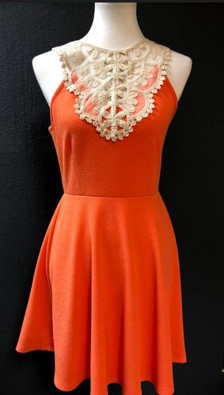 Coral Lace Top Dress