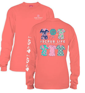Coral Scrub Life Longsleeve - Simply Southern