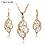 Simulated Pearl Necklace & Earrings Set