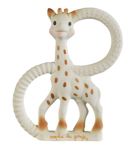 Sophie la Girafe - So' Pure Teething Ring https://babystuff.co.nz/products/sophie-la-girafe-so-pure-teething-ring The first teething ring made of 100% natural rubber. Made from the same natural rubber and food grade paints as the original Sophie la giraffe. Great for little hands to hold and ideal for soothing painful gums. Features a variety of textures to relieve baby at different stages of teething.