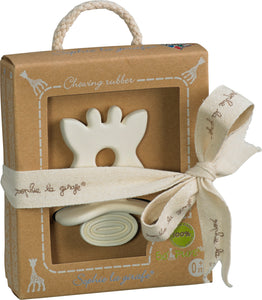 Sophie la Girafe - Chewing Rubber https://babystuff.co.nz/products/sophie-la-girafe-chewing-rubber Natural Teether made from 100% natural rubber. A material that is healthy, natural, soft and supple, taken from the sap of the Hevea tree for a product that babies will love. Easy for little hands to grab, with its integral handle in the shape of Sophie's head. Lots of parts to nibble on (ears and horns). Suitable from...