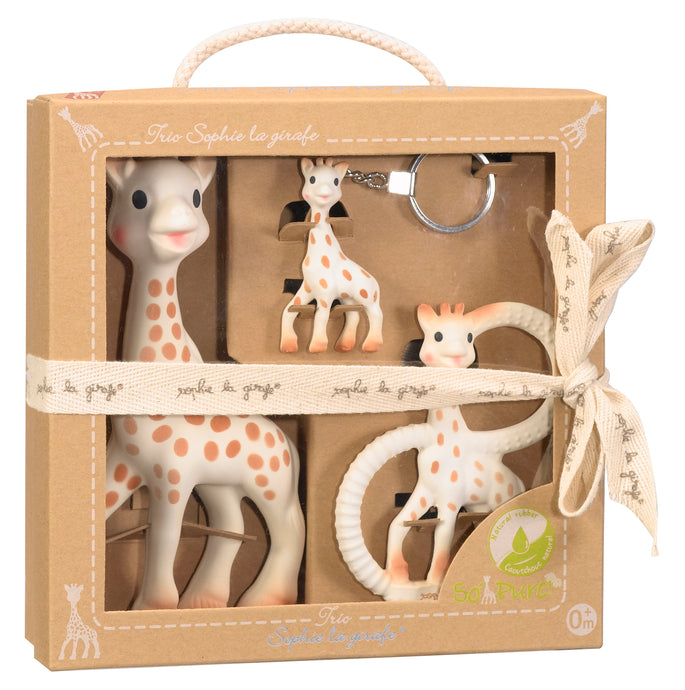 Sophie la Girafe - Trio Set https://babystuff.co.nz/products/sophie-la-girafe-trio-set The Original Sophie, plus a So Pure Sophie the Giraffe Teething Ring and a key ring. Boxed in a lovely gift box makes for the perfect baby shower gift! Suitable from 0months+