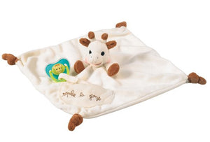 Sophie la Girafe - Comforter with Soother holder https://babystuff.co.nz/products/sophie-la-girafe-comforter-with-soother-holder Gentle colours and a very soft feel to reassure and comfort baby! This practical comforter comes complete with a Velcro® fastener to hold baby's soother and a pocket for perfect hygiene. Light and easy to grip by Sophie the giraffe's head and legs, and the five knots, one in each corner. This large-sized comforter is p...