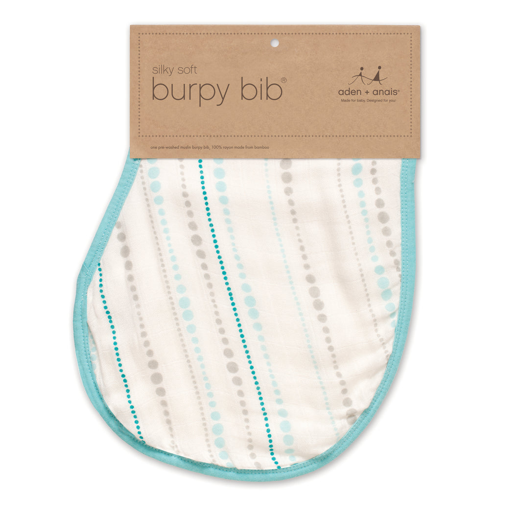 Aden + Anais - Bamboo Burpy Bib - Azure Beads https://babystuff.co.nz/products/aden-anais-bamboo-burpy-bib-azure-beads Aden + Anais Bamboo Burpy Bib one pre-washed burpy bib, rayon from bamboo fiber muslin Versatile: burp cloth and bib-all in one Generous Size: unique, patented design for maximum coverage Comfy: luxuriously soft and quick to dry Practical: machine washable, easy to care for ne pre-washed burpy bib, rayon from bamboo fi...