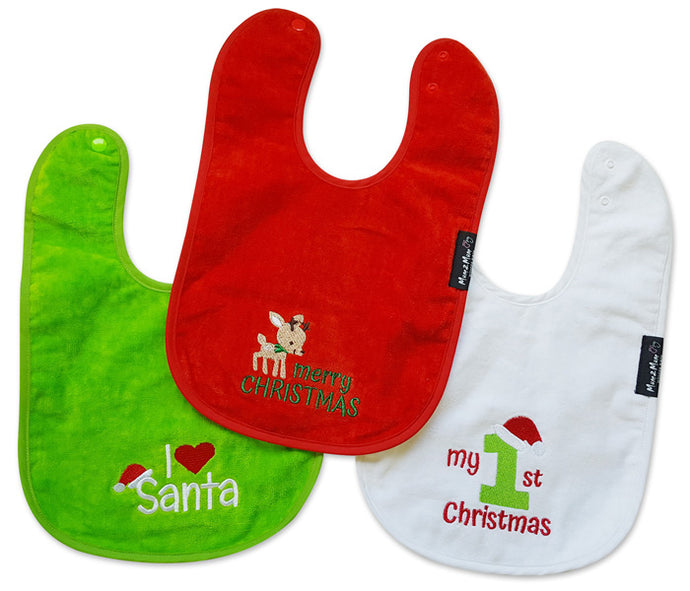 Mum2Mum- Christmas Wonder Bibs https://babystuff.co.nz/products/mum2mum-christmas-wonder-bibs Keep your baby dry and their Christmas Day outfit clean with these cute bibs. Perfect for Christmas lunch with the family...