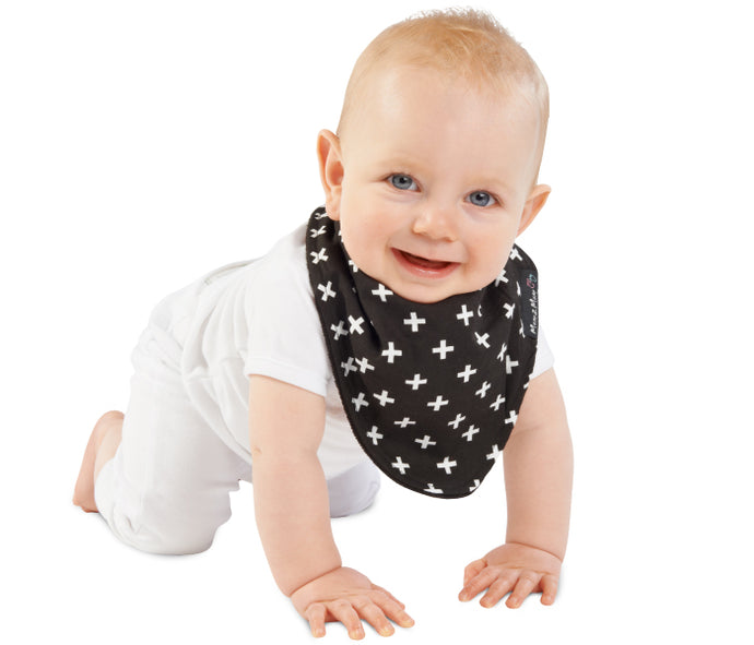 Mum2Mum - Fashion Bandana - Black https://babystuff.co.nz/products/mum2mum-fashion-bandana-black Reversible. Fun, funky fashion prints yet still practical. It's the bib with 3 layers, totally waterproof and reversible. The REVERSIBLE Fashion Bandana Wonder Bib has 3 layers; a high quality cotton fashion print , PU waterproof layer and of course our super absorbent 100% cotton towelling – making them a fashion item...