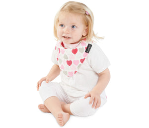 Mum2Mum - Fashion Bandana - Pink Hearts https://babystuff.co.nz/products/mum2mum-fashion-bandana-pink-hearts Reversible. Fun, funky fashion prints yet still practical. It's the bib with 3 layers, totally waterproof and reversible. The REVERSIBLE Fashion Bandana Wonder Bib has 3 layers; a high quality cotton fashion print , PU waterproof layer and of course our super absorbent 100% cotton towelling – making them a fashion item...