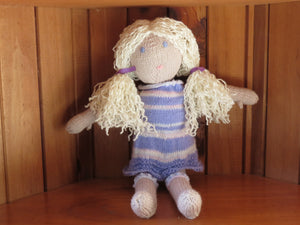 Made in the Mist - Knitted 'Sally' Doll - Felicity https://babystuff.co.nz/products/made-in-the-mist-knitted-sally-doll-felicity 'Felicity' is a kind and generous friend. Always there when you need her with a smile. All Sally dolls are, as much as possible, made from materials sourced from garage sales, donated by friends and thrift stores. Each doll is a one off creation. The dress and panties are removable. Keep an eye on our website for a ran...