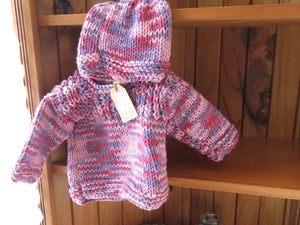 Made in the Mist - Knitted Jumper and Beanie https://babystuff.co.nz/products/made-in-the-mist-knitted-jumper-and-beanie A big, snuggly winter look for your wee one, with matching beanie. Perfect for a Sunday morning outing to the farmers market. When lying flat, the jumper measures approximately 24cm across the chest and 24 cm from the neck to the waist. The beanie measures approximately 19cm. All our items are as much as possible, made...