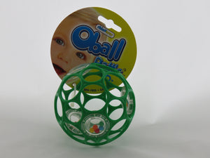 Oball - Rattle https://babystuff.co.nz/products/oball-rattle This ball rattle features multiple finger holes that make it easy to grasp, shake and throw. The rattle ball features a chamber with fun rattle beads that creat...