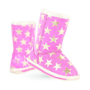 EMU - Starry Night - Hot Pink https://babystuff.co.nz/products/emu-starry-night-hot-pink-1 The EMU Australia Starry Night is a premium suede boot lined with naturally soft Australian Merino wool. Foil, metallic stars add shine and interest.