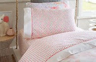 Beautiful junior linen from Sheridan. A timeless design for the classic children's room. This finely woven micro gingham is constructed with 100% cotton yarns that are formaldehyde free. Completed with a crisp white header and piping. Set includes a fitted sheet, flat sheet and one standard pillowcase.        100% cotton     Crafted yarn dye weave