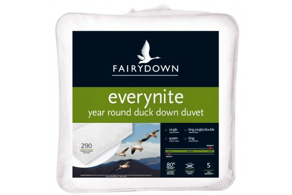 Fairydown - Everynite - Year Round Duck Down Duvet https://babystuff.co.nz/products/fairydown-everynite-year-round-duck-down-duvet The Fairydown Everynite duck feather & down duvet allows you and yourfamily to experience the blissful sleep made possible by thelightness and warmth of fea...