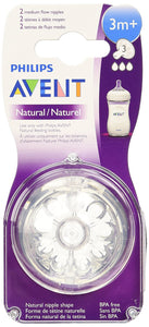 AVENT - Natural 3m+ 2x Newborn flow teats