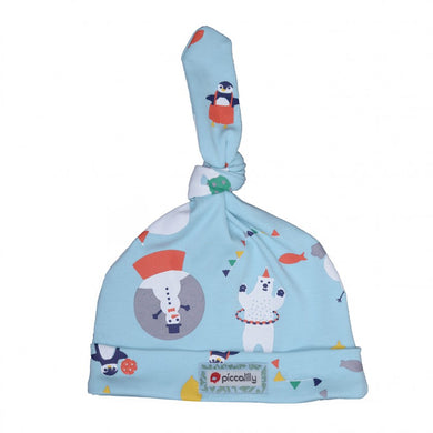 piccalilly - artic animal - baby hat https://babystuff.co.nz/products/piccalilly---artic-animal---baby-hat A cute pale blue unisex baby hat featuring a fantasy arctic scene with penguins and snow globes. This little organic cotton baby hat features a single knot which can be tied to perfectly fit your baby's head. Looks fabulous teamed with matching footed sleepsuit. Chemical free organic cotton is kinder to wear on delicat...