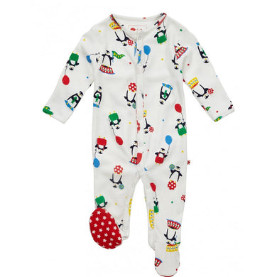 piccalilly - penguin footed sleepsuit https://babystuff.co.nz/products/piccalilly---penguin-footed-sleepsuit A cute gender neutral footed baby romper featuring magical penguins in a unisex colour pallet. Designed with a baby's first Christmas in mind. Designed for babies who dislike being dressed over the head we've created a romper with popper opening down the front and down both legs - tah dah! Chemical free organic cotton...