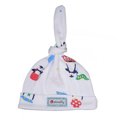piccalilly - penguin - baby hat https://babystuff.co.nz/products/piccalilly---penguin---baby-hat A lovely unisex baby hat features a single knot which can be tied to perfectly fit baby's head. This cute little hat has a bright all-over-print with magical arctic penguins. Chemical free organic cotton is kinder to wear on delicate skin. Unisex design with unisex colours making it perfect for a baby girl or a baby bo...