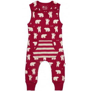 piccalilly - polar bear dungarees https://babystuff.co.nz/products/piccalilly---polar-bear-dungarees Soft and comfy red organic cotton jersey dungarees for baby and toddlers featuring a unisex all-over polar bear print. These red dungarees are gender neutral in design and perfect play wear for all ages to crawl, roll and have adventures in. Features side shoulder poppers for no-tears easy peasy dressing. Made from org...