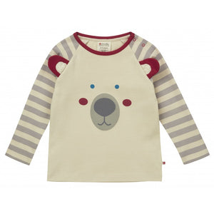 piccalilly - polar bear top - grey stripe with sherpa https://babystuff.co.nz/products/piccalilly---polar-bear-top---grey-stripe-with-sherpa A lovely unisex cream long sleeve raglan children's top featuring a cute polar bear design on the front with little flappy ears. This kids top is made from organic cotton jersey and features grey and cream stripe sleeves. Unisex design with unisex colours making it perfect for a girl or a boy. Chemical free organic cot...
