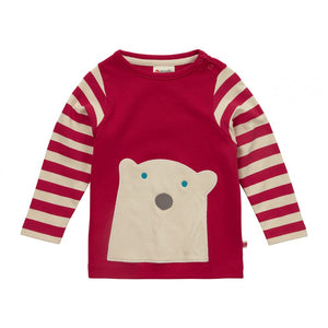 piccalilly - polar bear top - red stripe https://babystuff.co.nz/products/piccalilly-polar-bear-top-red-stripe This long sleeve red top for girls and boys features a cute polar bear applique on the front and stripey cream and red sleeves. Gender neutral in design it looks great teamed over our new season polar bear leggings or underneath dungarees too! Unisex design with unisex colours making it perfect for a girl or a boy. Che...