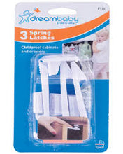 Dreambaby - Spring Latches - 3 pce https://babystuff.co.nz/products/dreambaby-spring-latches-3-pce Dreambaby Spring Latches have a durable, long lasting Spring action. Suitable for use on the top or side of most cabinets. Suitable for top drawers, may be used...